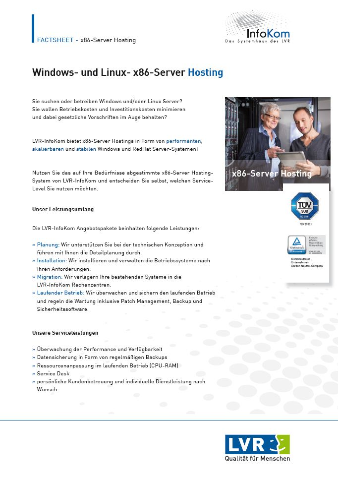 Publikation Windows- und Linux- x86-Server Hosting